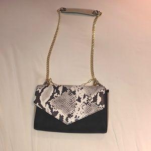 Black/tan/snakeskin cross body bag